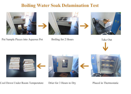 Boiling water soak delamination test for engineered flooring