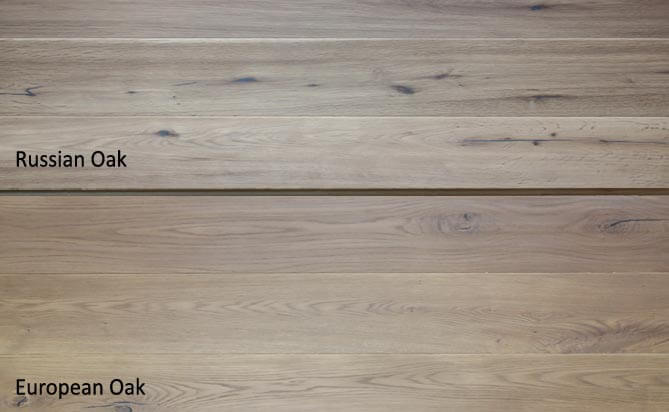 Invisible lacquered oak engineered floor,Russian Oak VS European Oak