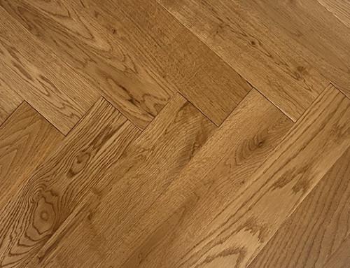 Brushed Smoked Oak Herringbone Parquet UV Oil Finish